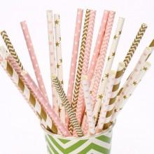 Трубочки для коктейлей бумажные 25 шт. (ассорти)
